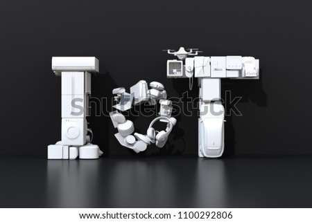 Front view of IoT text composed by smart appliances on black background. Internet of Things concept. Consumer products with white shading. 3D rendering image.