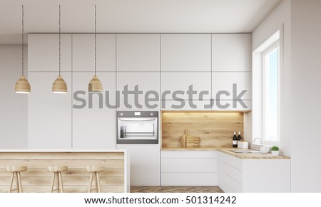 Front view of kitchen with oven, sink, countertops and window. Concept of healthy food. 3d rendering. Mock up.
