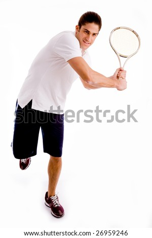 front view of man playing tennis on an isolated background