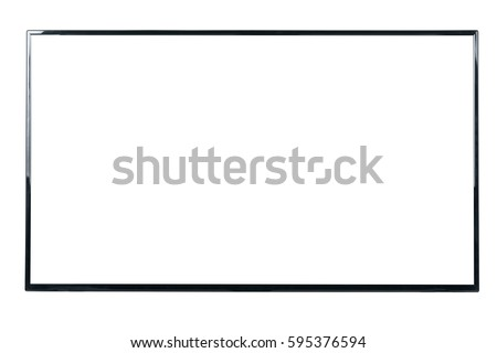 Front view of modern blank high definition LCD flat screen TV monitor, isolated on white background #595376594
