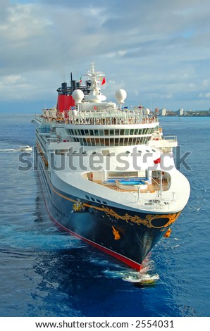 Front view of modern cruise ship. Unforgettable vacation.