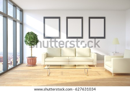 Front View Of Modern Living Room Interior With City View, Furniture And  Blank Picture Frames