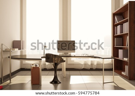Front view of modern room with workplace, blank computer screen, city view and daylight. Mock up, 3D Rendering. Filtered image #594775784