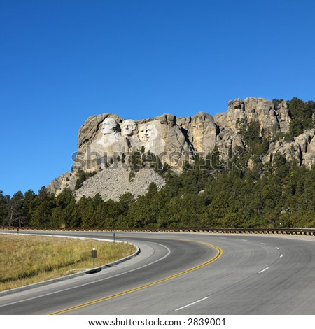 Front view of Mount Rushmore National Memorial from road.