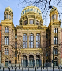 front view of new synagogue in Berlin, Germany