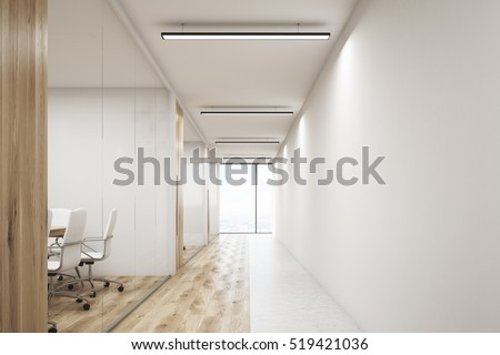 Front view of office corridor with large blank wall and row of conference rooms with wooden wall and floor decoration. 3d rendering. Mock up.
