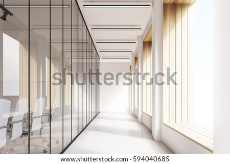 Front view of office interior with blank whiteboard behind glass doors, hallway with concrete floor and panoramic windows. Sunlight. Mock up, 3D rendering #594040685