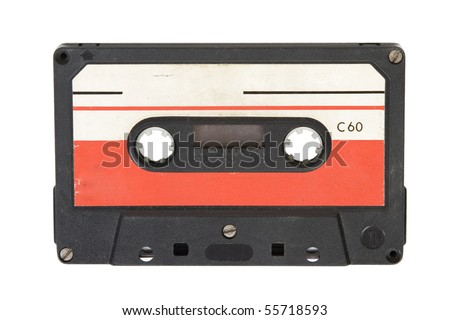 front view of old audio cassette on white background