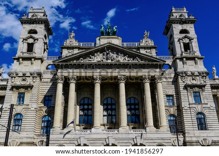 Front view of old historical building of Museum of Ethnography (Néprajzi Múzeum) located at Kossuth square in Budapest, Hungary in a sunny summer day Stock fotó ©
