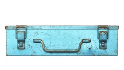 Front view of old metal box isolated on white background