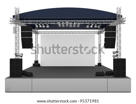 Front view of outdoor gig stage. 3D render.