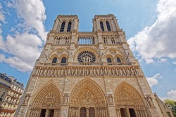 Front view of Paris Notre Dame Cathedral in summer sunshine before the devastating fire