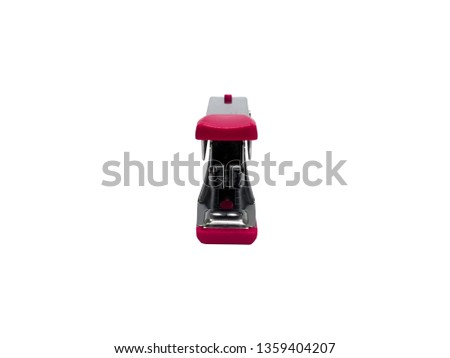 front view of pink stapler of office stationery  isolated on white background