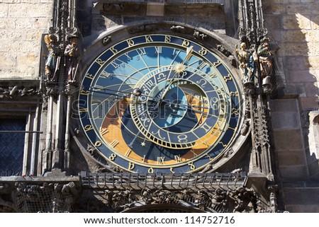 Front view of Prague astronomic clock