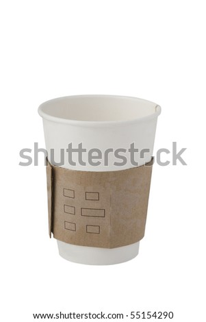 front view of recycling paper glass on white background