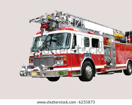 Front 3/4 view of red and white fire truck with hook and ladder isolated on light grey background. Blank white space for text on ladder used for town name in the original photo.