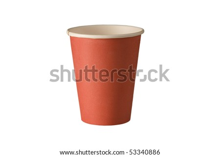 front view of red recycling paper glass on white background - stock photo