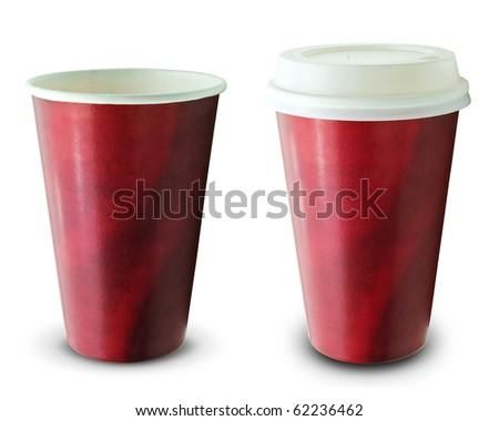 front view of red recycling paper glass on white background