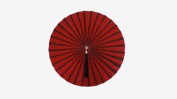 Front view of red umbrella with white background.