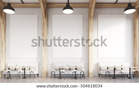 Front view of restaurant interior with sofas, chairs and tables. Concept of eating in public places. 3d rendering. Mock up.