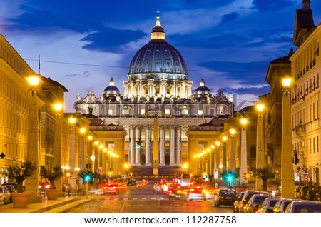 Front View of Saint Peter's Basilica,Vatican