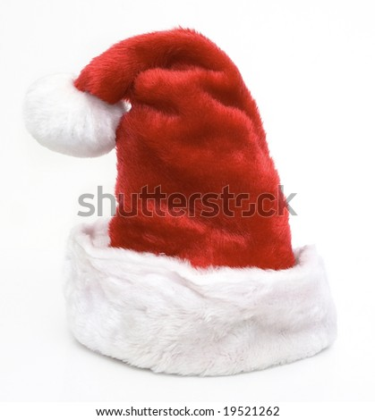 front view of santa claus hat isolated against white background