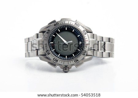 front view of silver watch on white background