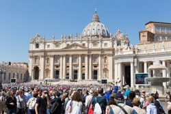 Front view of St. Peters basilica from St. Peter's square in Vatican City, Vatican.