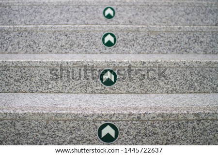 front view of Stair with steps. granite steps with up arrows. Step by step. #1445722637