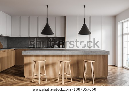 Front view of stylish kitchen with white walls, wooden floor, wooden and white cupboards and bar with stools. 3d rendering