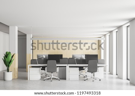 Front view of stylish wood and white wall office interior with loft windows, and open space area. Plant in pot and columns. 3d rendering