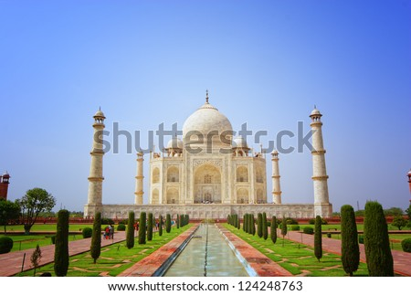 Front view of Taj Mahal, India. One of the seven wonders of the world