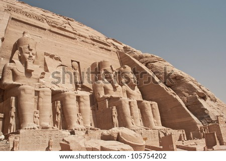Front view of Temple of King Ramses II in Abu Simbel, Egypt