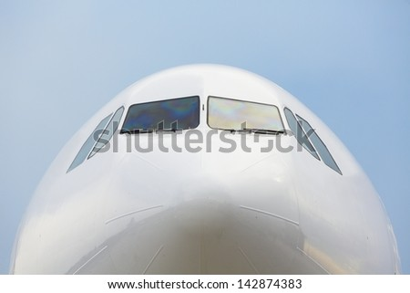 Front view of the airplane with clear sky