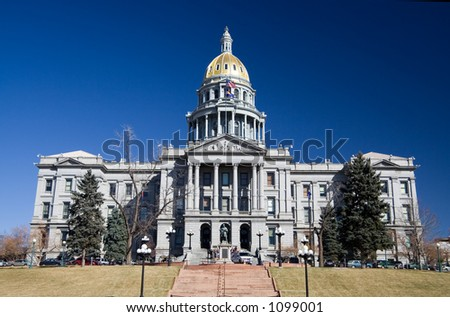 Front view of the Colorado State Capitol.