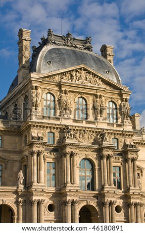 Front View Of The Louvre Palace In Sunlight