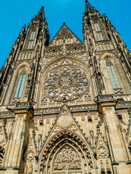 Front view of the main entrance to St. Vitus Cathedral at Prague