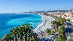 Front view of the Mediterranean sea, bay of Angels, Nice, France