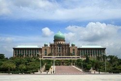 Front view of the Parliament Building of Malaysia in Putrajaya, Malaysia