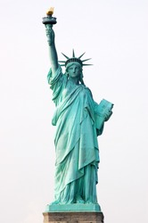 Front view of the Statue of Liberty in New York City.