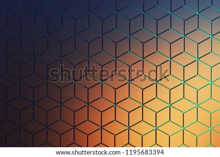 Front view of the surface with hexagonal pattern in dark blue and orange colors. Hexagon shapes made of rhombus shapes arranged in repeating pattern with blue grooves. 3d illustration.