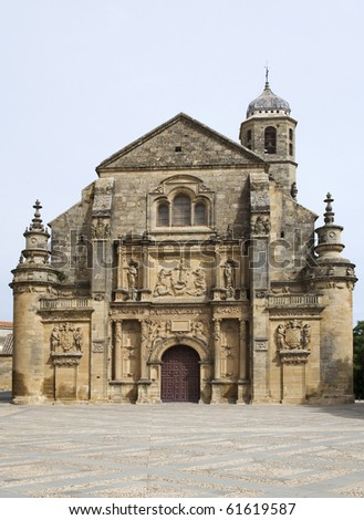 Front View of the 16th Century Church of El Salvador in Ubeda Andalusia Spain