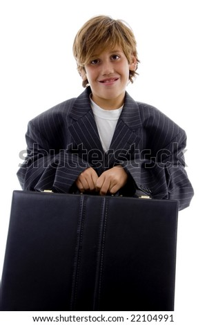 front view of tired young businessman holding briefcase on an isolated background