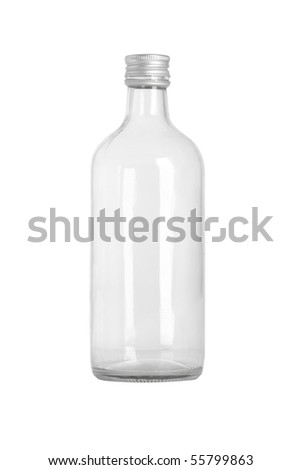 front view of transparent glass bottle on white background