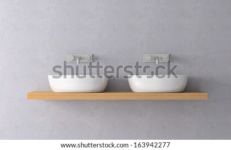 front view of two sinks on a shelf and two modern faucets on the wall (3d render)
