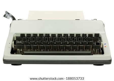 Front view of typewriter on white background with clipping path