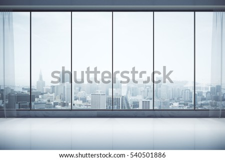 Front view of unfurnished contemporary interior with curtains, panoramic city view and daylight. 3D Rendering  stock photo