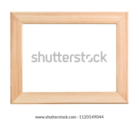 Front view of unpainted wood pictures frame isolated on white