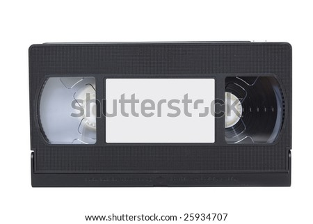 front view of vhs video tape with label isolated against white background