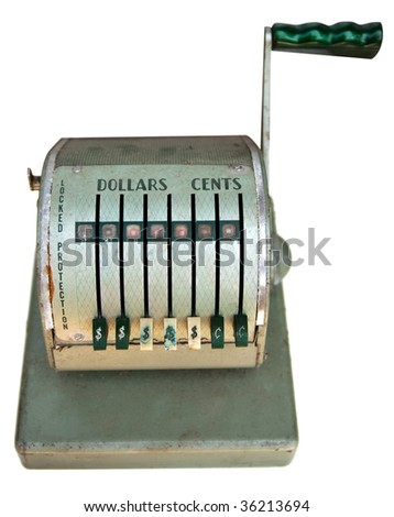 Front view of vintage antique cash register